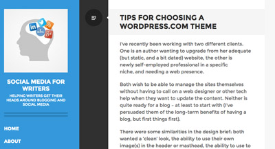 Social Media for Writers -choosing a wordpress.com theme