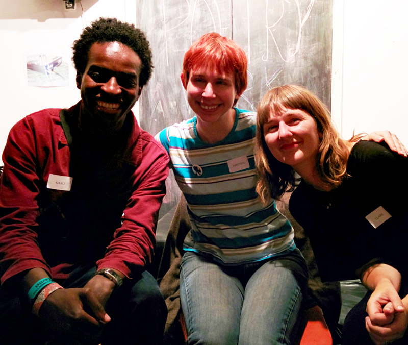 Kayo Chingonyi, Kirsten Irving, Clare Pollard at the Poetry Cafe