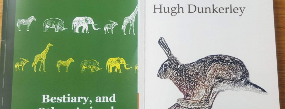 Poetry book covers for Hare by Hugh Dunkerley and Bestiary by Antony Mair