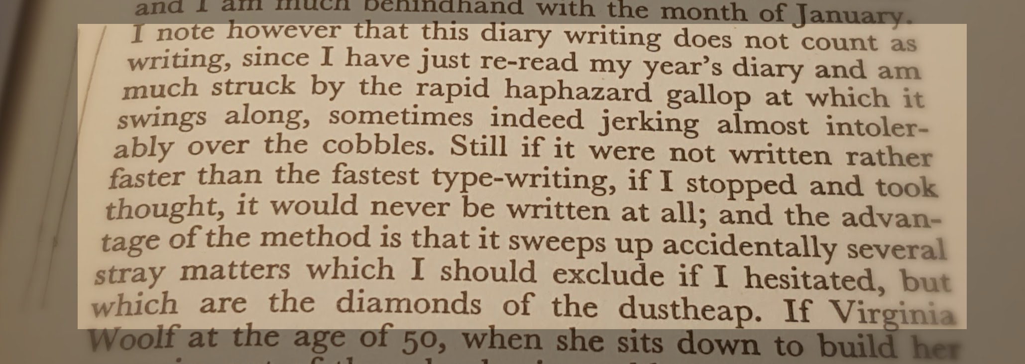 entry from V Woolf's 'A Writer's Diary'