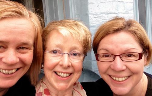 Charlotte, Clare, Robin at Aldeburgh