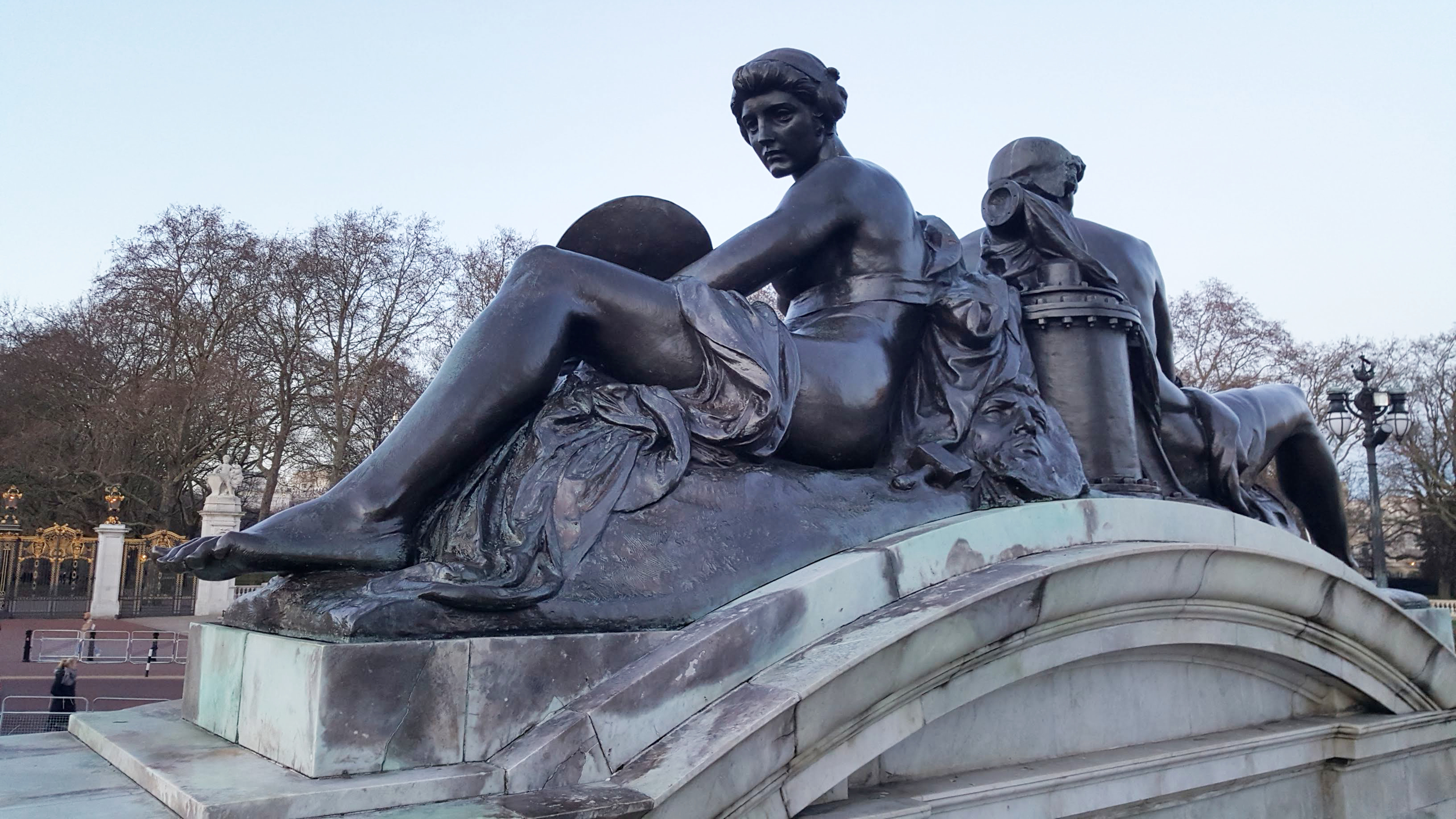 detail from the Queen Victoria statue in front of Buckingham Palace, London